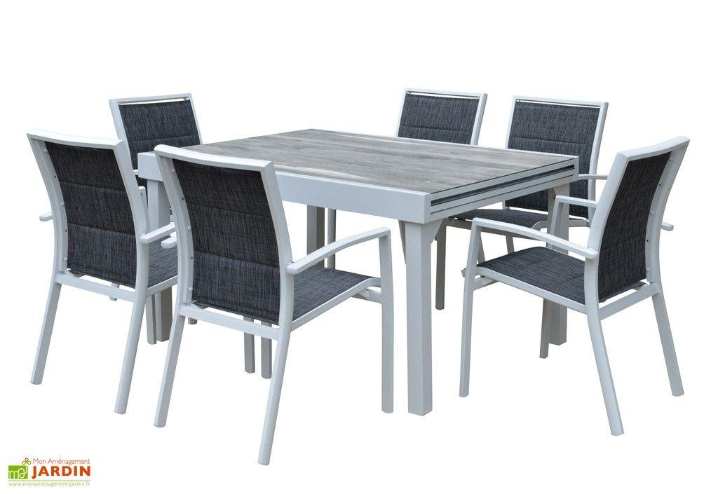 Salon de Jardin Aluminium : Table Extensible 135/270 cm + ...