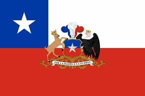 Bandera de la Republica de Chile cuya independencia se celebra el dia 18 de Septiembre de cada año (1810). En el centro lleva el escudo de nuestro pais.