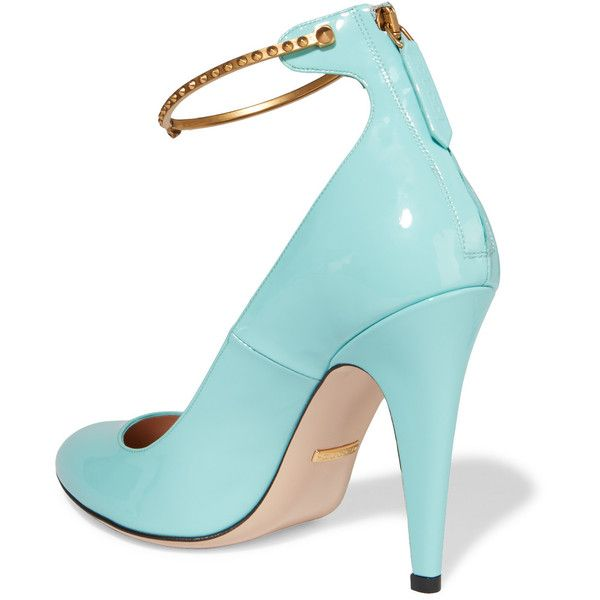 gucci blue patent leather pumps