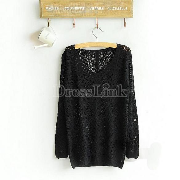 Womens Knit Knitwear Sweater Pullover Jumper Top Boat Neck Batwing Sleeve Hollow