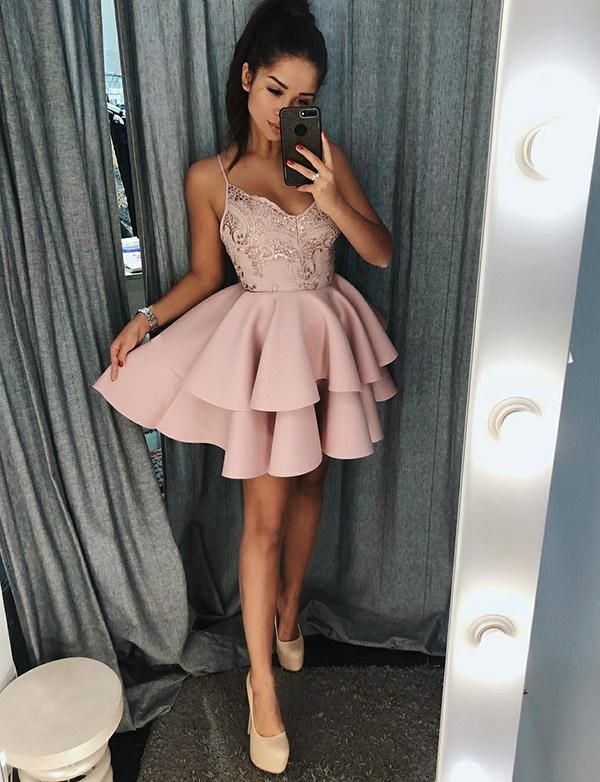 Spaghetti Straps Short Homecoming Dress with Appliques Pink Prom Dress