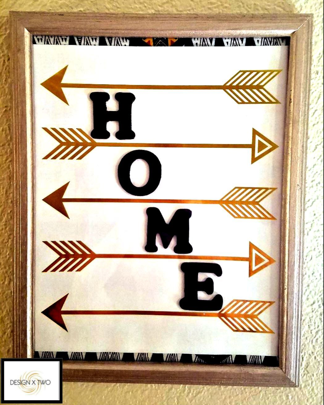How to glue scrapbook paper to wood letters - Diy Art Scrapbook Paper With Gold Arrows Wooden Letters Painted Black Glued Between Arrows