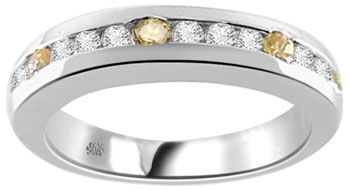 .43 Carat Channel Set Yellow Sapphire & Diamond Band