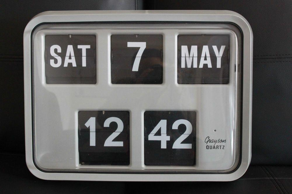 Retro Vintage Grayson Flip Wall Clock Calendar Quot Good