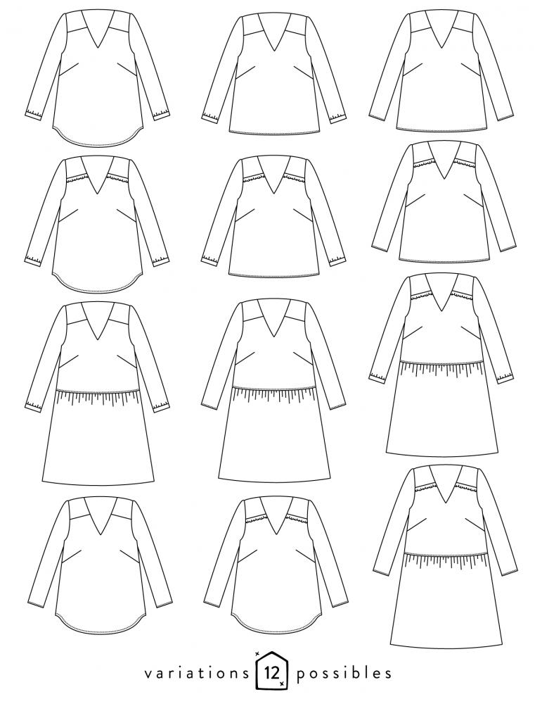 Exceptionnel Dessin technique de la blouse Be Pretty de face et de dos | Sewing  ZS24