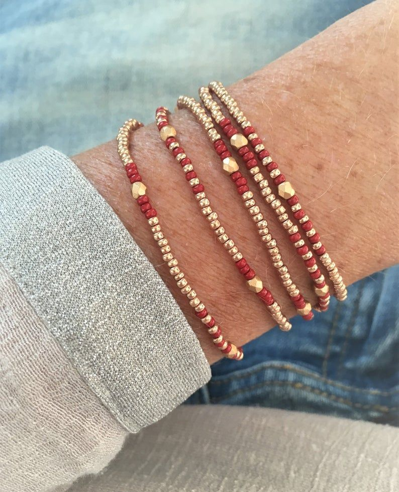 Wrap bracelet with seed beads, layering necklace, Christmas gift