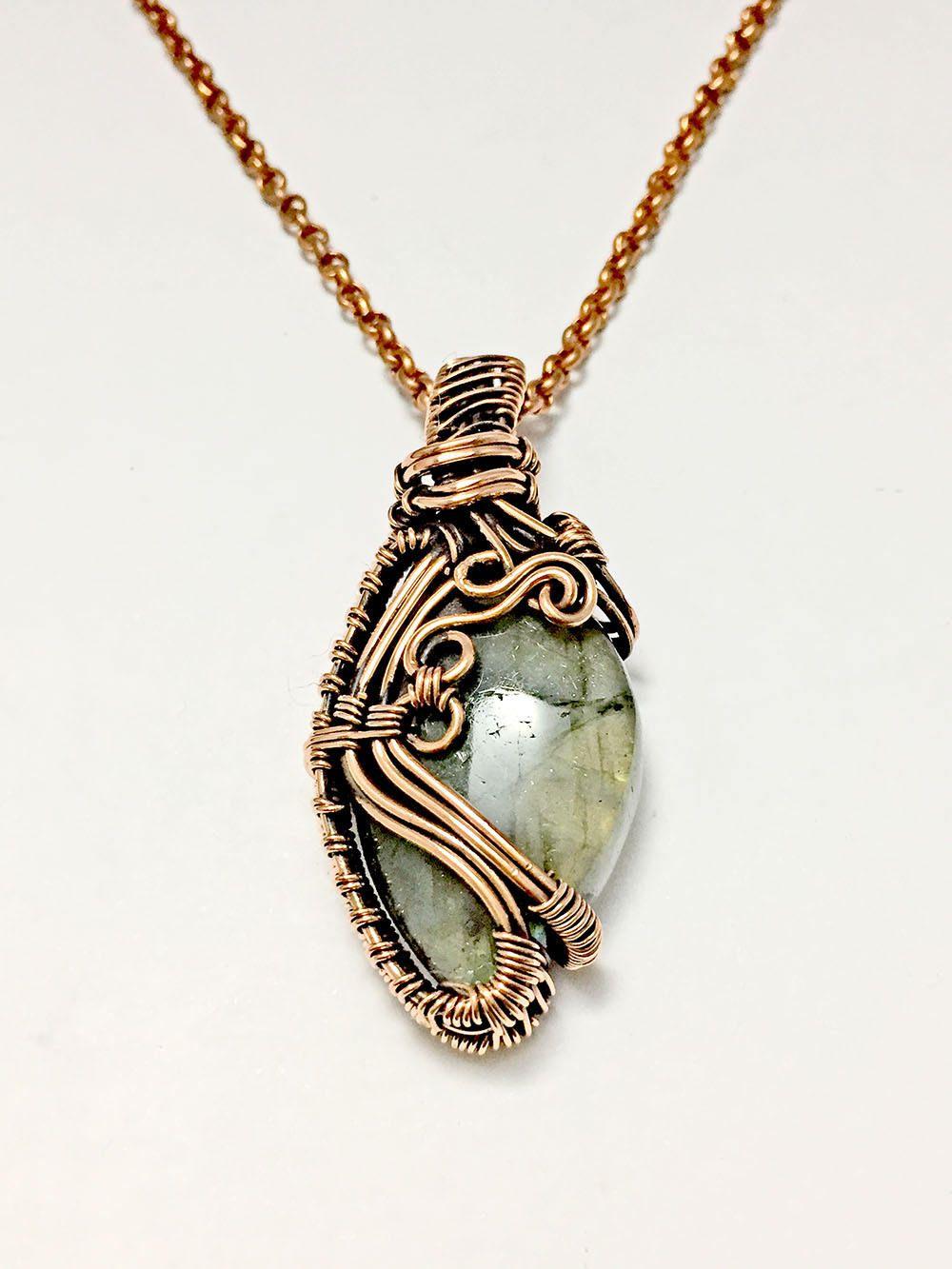 labradorite pendant, wire wrapped, copper wire pendant, labradorite ...