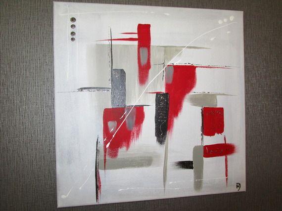 Tableau acrylique abstrait moderne gris noir et rouge - Tableau rouge noir gris moderne ...