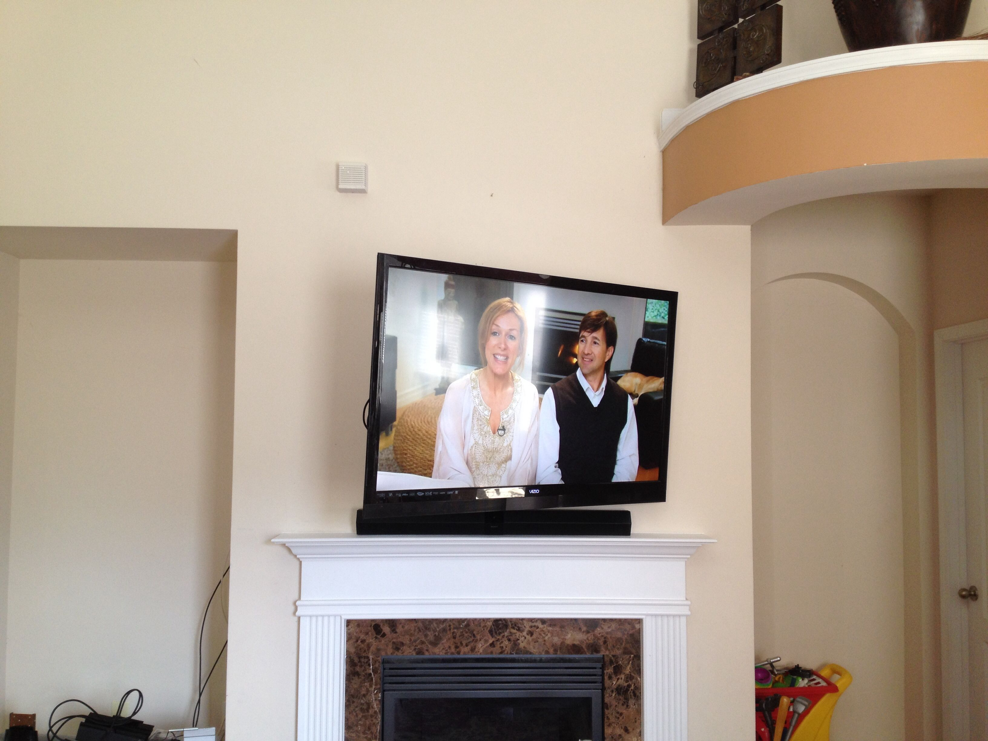 60 Vizio Flatscreen Tv Full Motion Wall Mount Installation With Sound Bar Over Fireplace Mantle