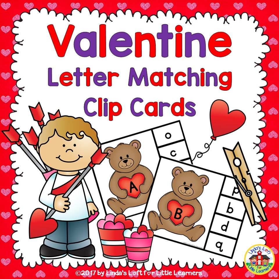 Valentine Letter Matching Teddy Bear Clip Cards  Teacher pay