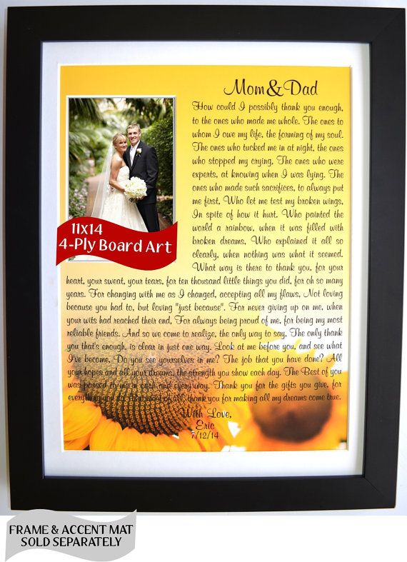 Unique Parent Wedding Gift Idea Personalized Wall Art Birthday Gifts For Parents Thank You Mom And Dad Sunflower Custom Valentines Day