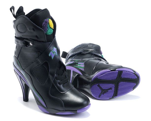 1dac38686cab9b Women Air Jordan 8 High Heels Black Purple