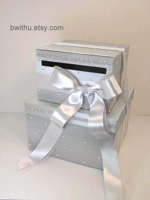 silver 2 tier wedding card box gift card box money box holder customize your color