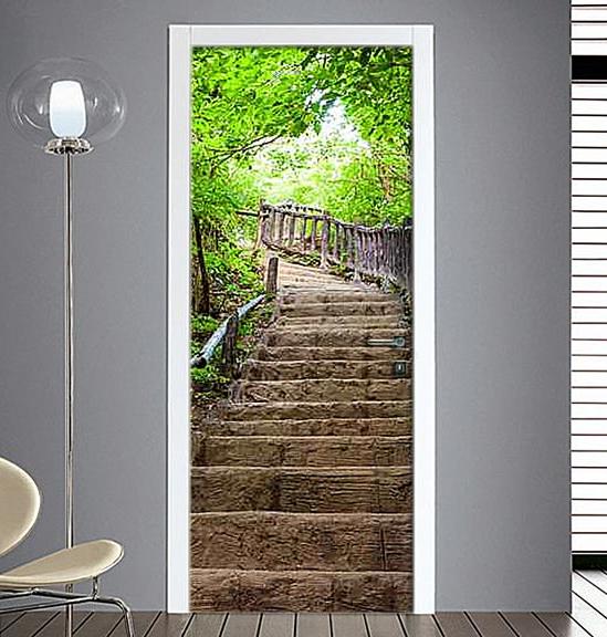 Adesivo porta scalinata in pietra - Pellicole adesive per porte ...