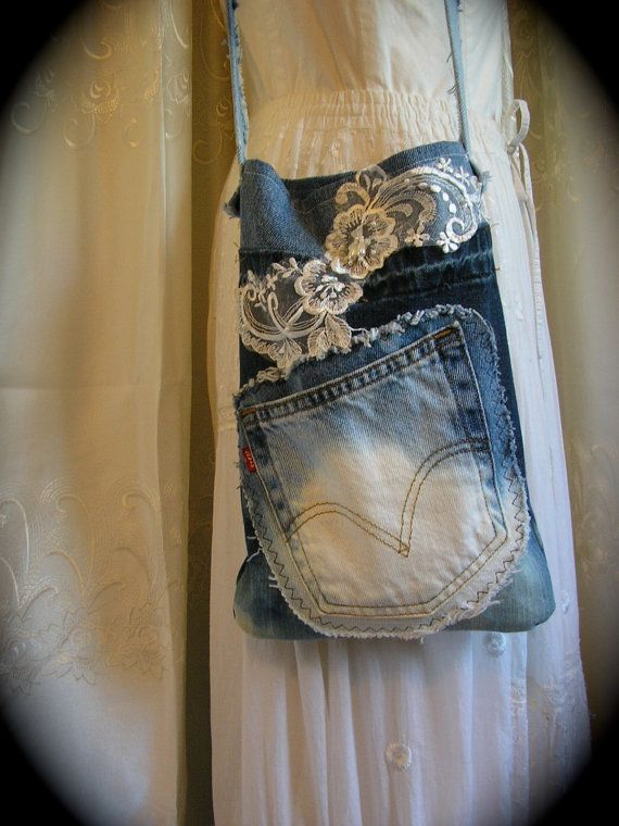 Bleached Denim Bag, handmade bleach white dyed, upcycled levis blue jean, phone ipod pocket