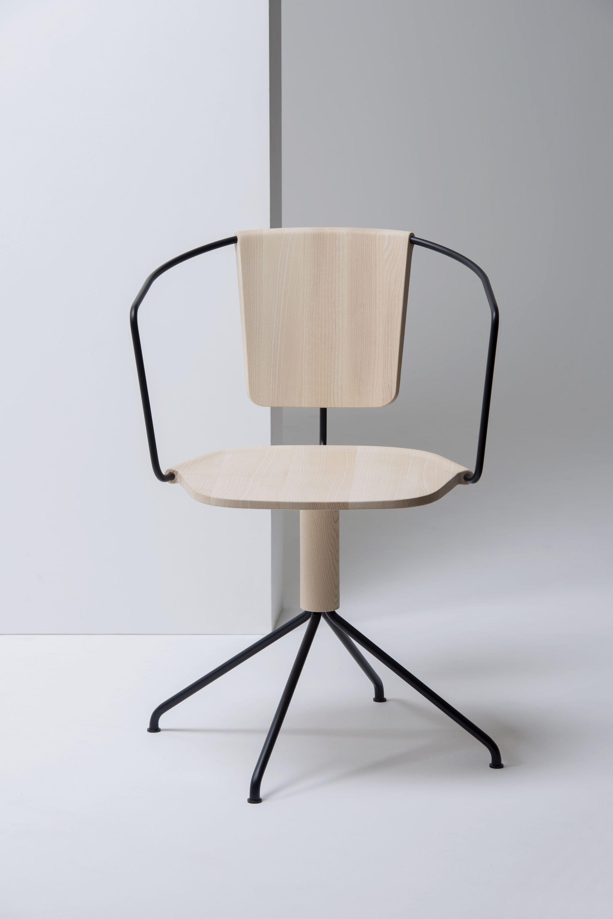 white oak with matte black metal chair