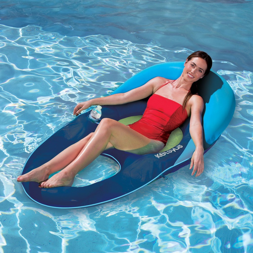 Kelsyus Deluxe Inflatable Floating Pool Lake Chaise Lounger Blue And Green Chaise Lounger Pool Lounger Lounger