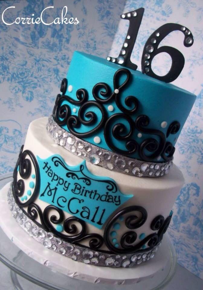 Aqua White Black Tier Cake Sweet 16 Sweet 16 Birthday Cake 16