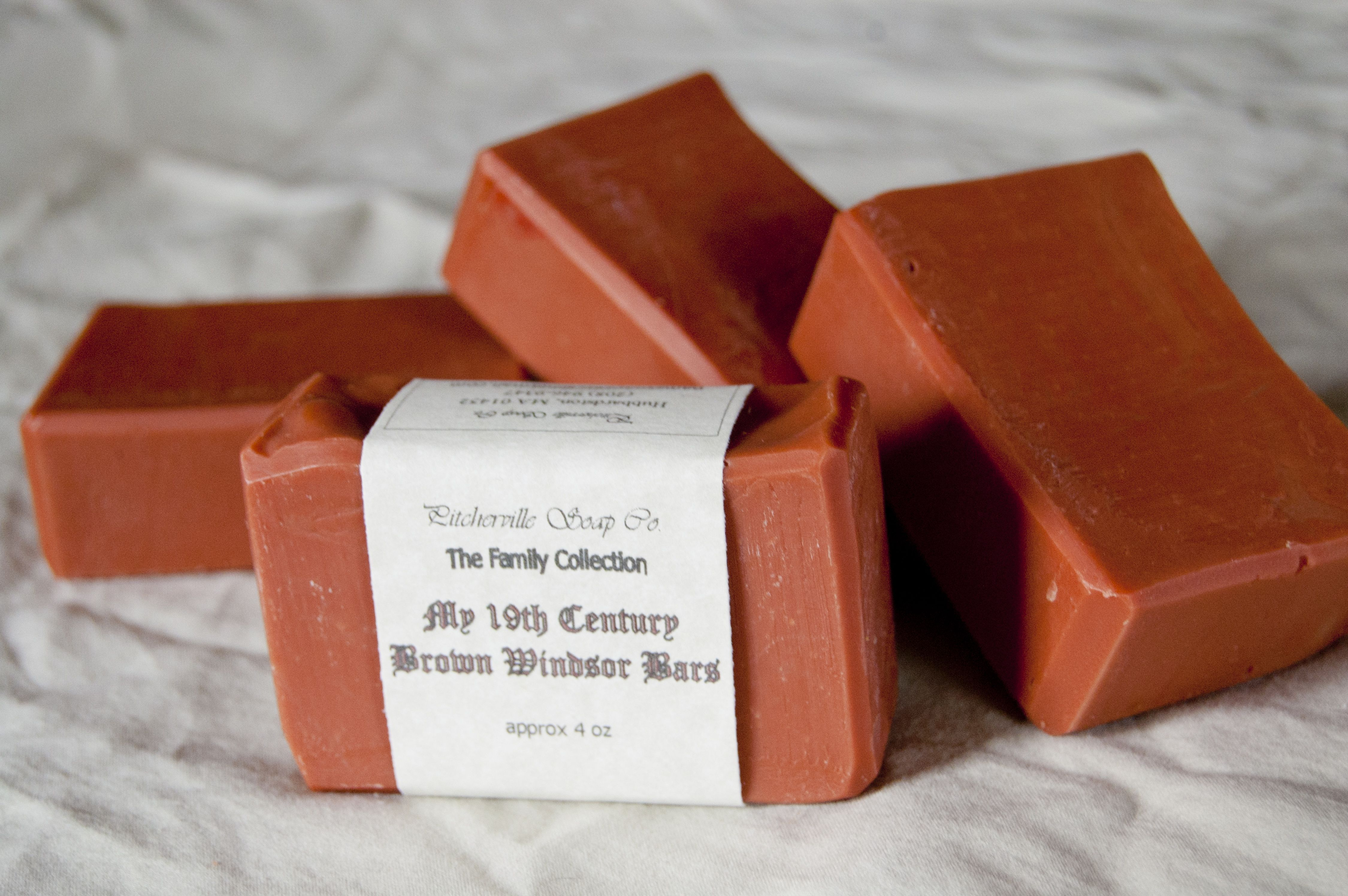 My 19th Century Brown Windsor Bars--We just had to try this one. Its origins date back to the 19th century (imagine that!!) and we really like old things. Clay is added as a mild exfoliant, and essential oils of cassia, lavandin, cumin, clove and thyme are added for scent.