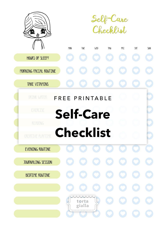 Free Printable SelfCare Checklist Self, Free