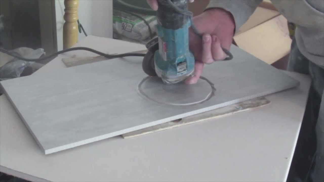 How to cut a hole in ceramic tile for toilet flange with ...