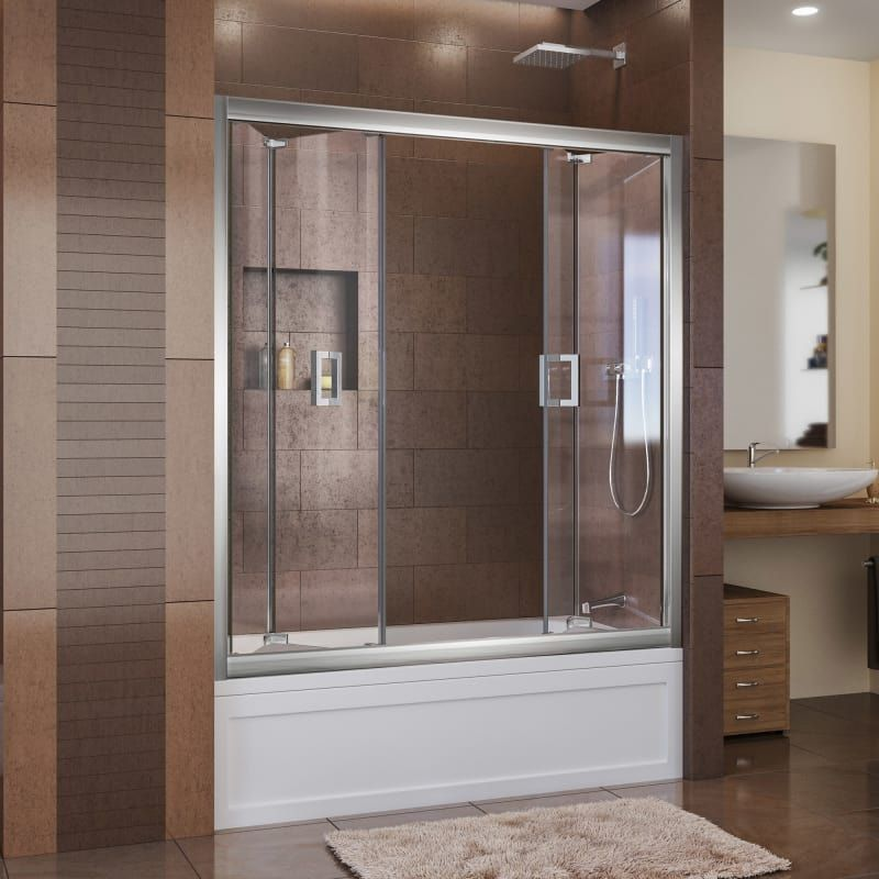 Dreamline Shdr 4558581 Butterfly 57 1 2 To 59 In W X 58 In H Bi Fold Tub Door Chrome Showers Shower Doors Hinged Sliding Bathroom Doors Tub Shower Doors Bathtub Doors