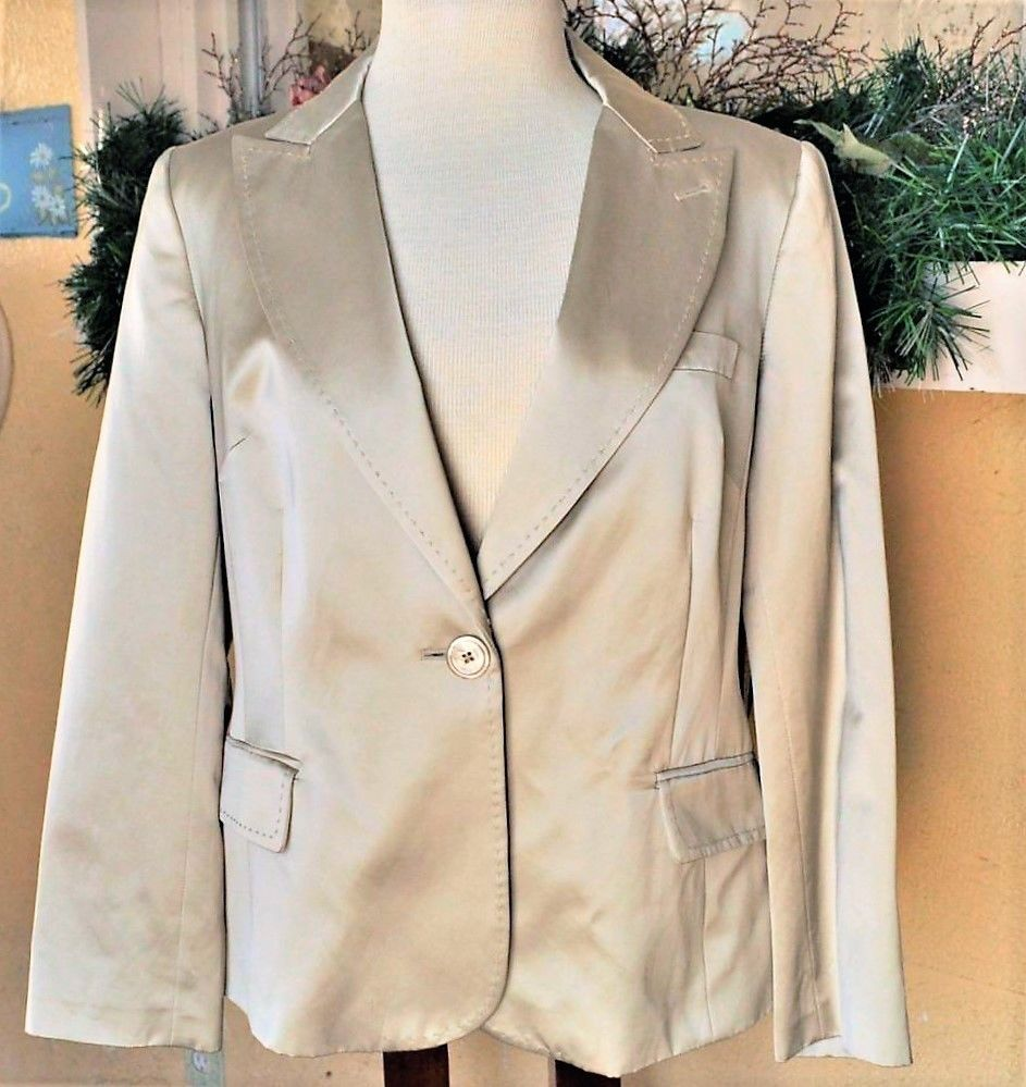 bfd437453d1d NEW Victor Alfaro Womens 14P Petite 1 Button Jacket Fitted Cotton Blend  Satin LS  VICTORByVictorAlfaro  Blazer