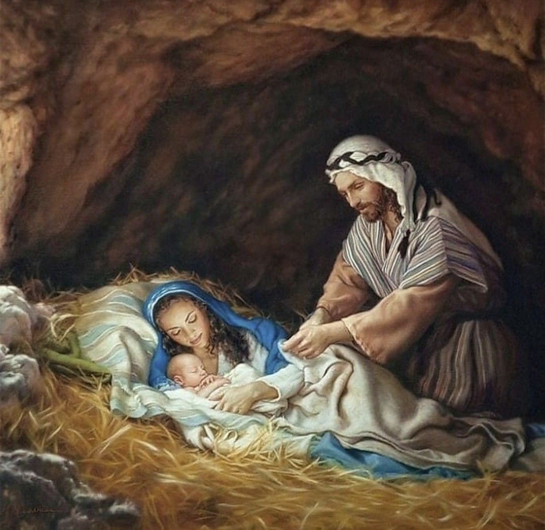 The Holy Family in the protection of a cave when Jesus was born in Bethlehem | Christmas nativity scene, Holy family, Christmas nativity