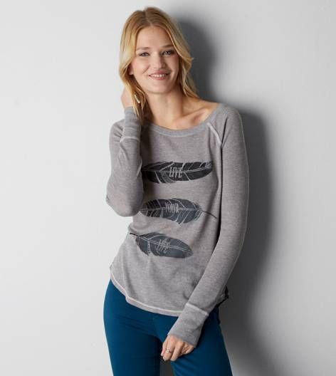 Bruma gris T-shirt térmica con gráfico AEO
