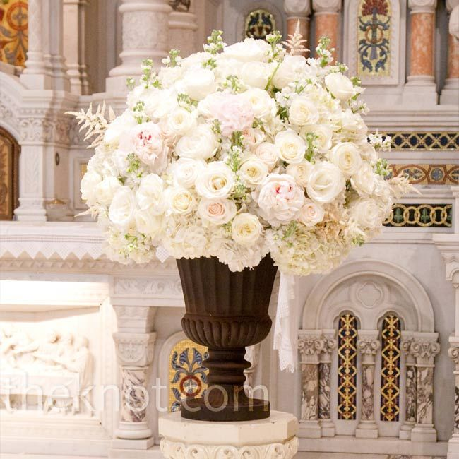 Wedding Church Altar Arrangements: White Roses, Hydrangea, Astilbe, And Stock In A Classic