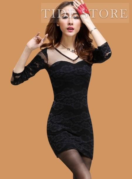 US$16.99 Charming Black Night Club Sexy Lace Sheath Dress. #Dresses #Charming #Dress #Night