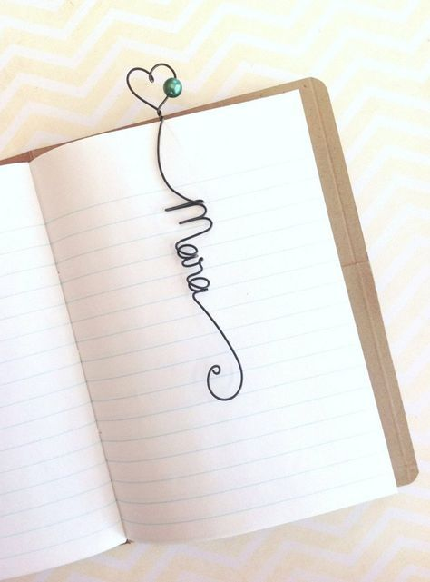 Individuelles Lesezeichen mit Name aus Draht …   Kunst   …