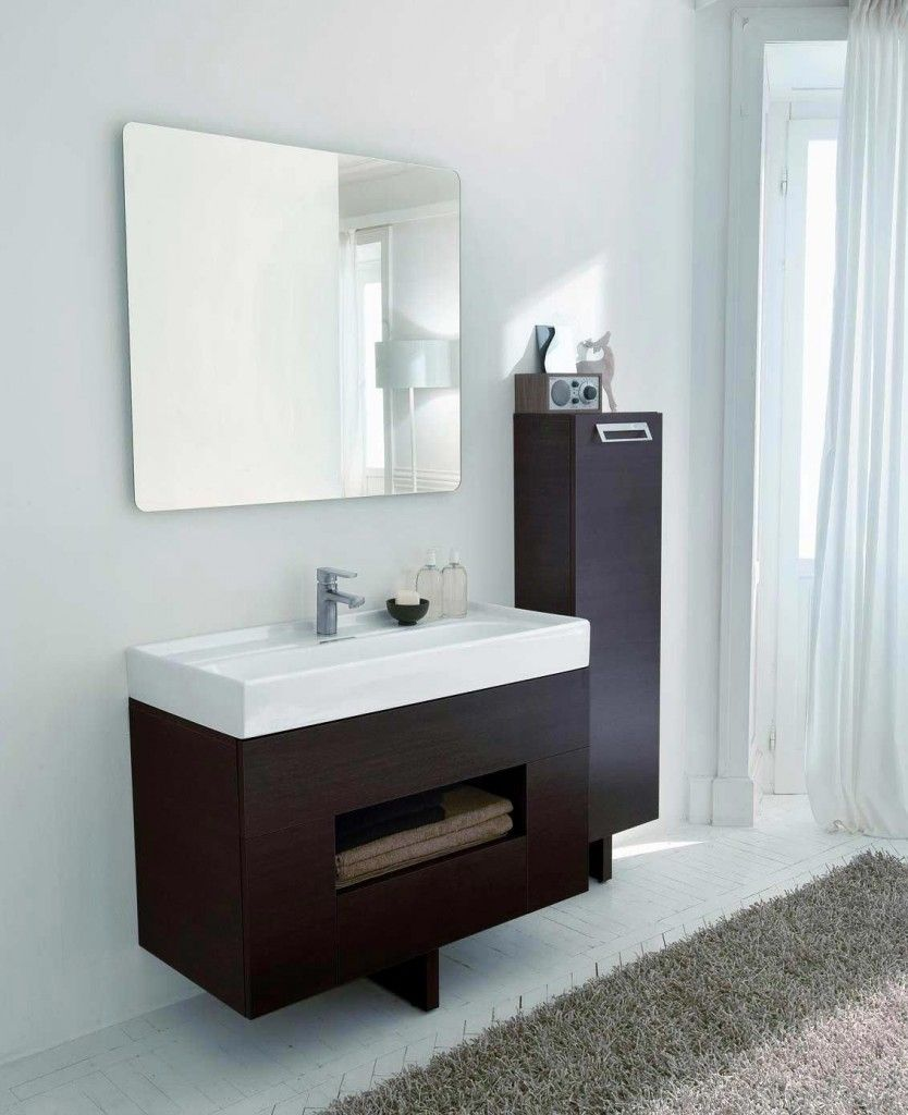 Cabinet Amazing Wall Mount Dark Brown Laminte Wood Floating Vanity Cabinet  Feat White Sink And Wall