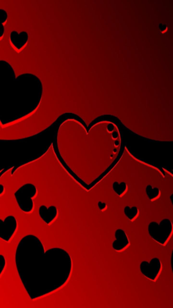 Red And Black Mobile Wallpaper Heart Wallpaper Black Wallpaper Mobile Wallpaper