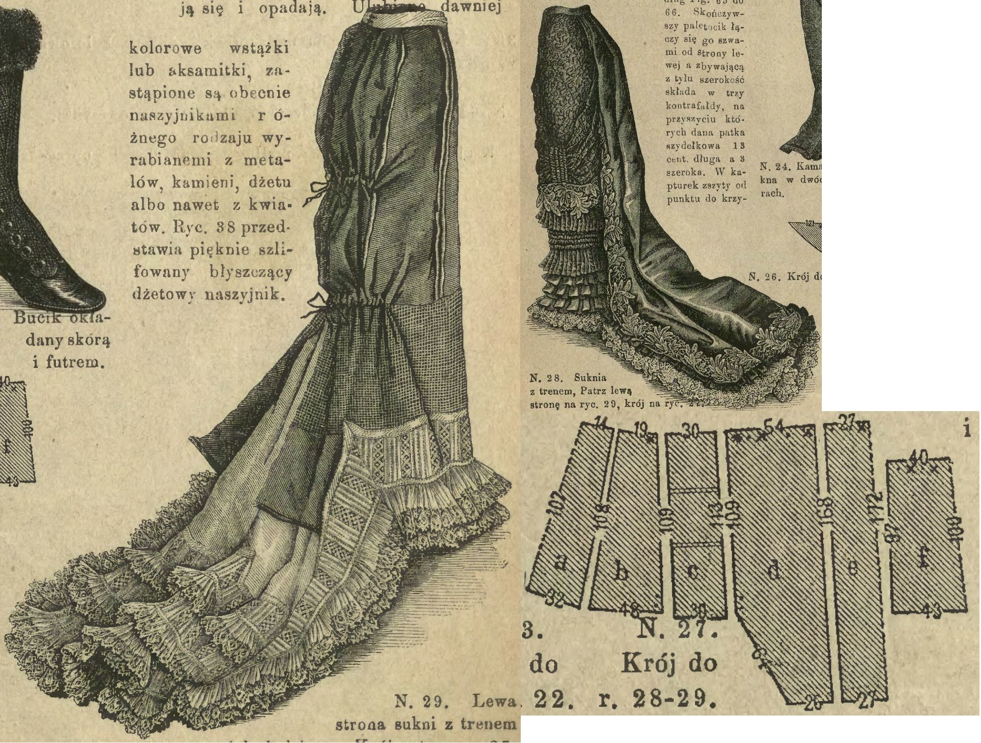Tygodnik Mód 1880.: Formal or evening skirt with long train and rich ...
