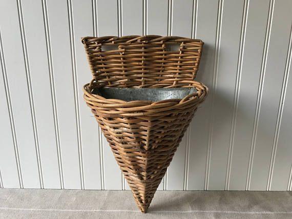 Vintage Door Basket Wicker Door Pocket Woven Mail Basket & Vintage Door Basket Wicker Door Pocket Woven Mail Basket Hanging ...