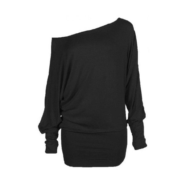 f841ec0b473 Womens PLUS SIZE Batwing Top Plain Long Sleeve Off Shoulder Big Size...  ($8.76) ❤ liked on Polyvore featuring tops, shirts, plus size long sleeve  tops, ...