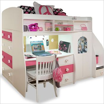 Charming Girls Loft Beds For Teens | Berg Furniture Play And Study Loft Bed With  Computer Desk