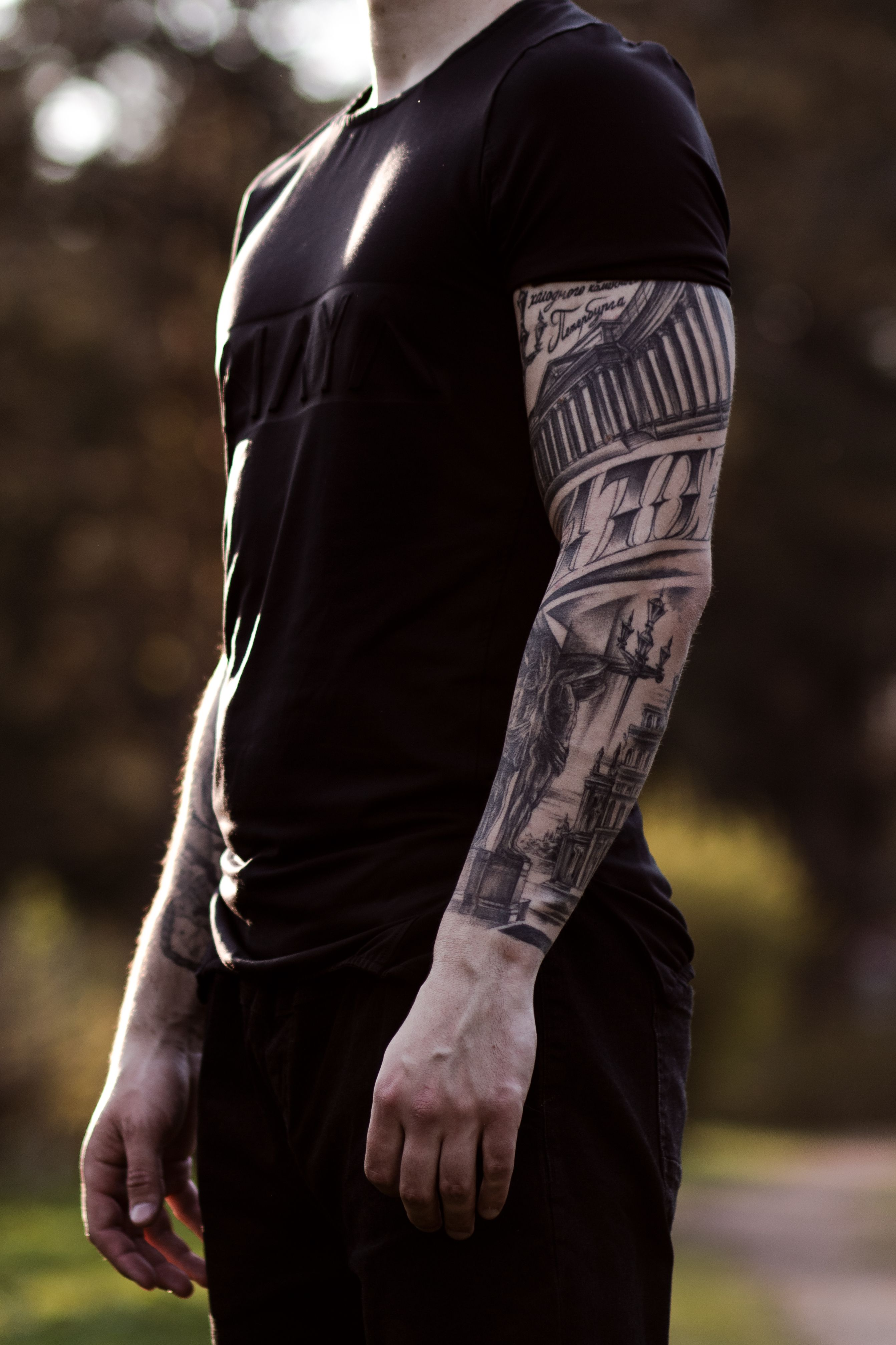St Petersburg Architecture Tattoo 1703 Tattooed Sleeve Hand Arm Realism Style Chicano Russian City Ink Sleeve Tattoos Hand Tattoos Tattoo Designs Men
