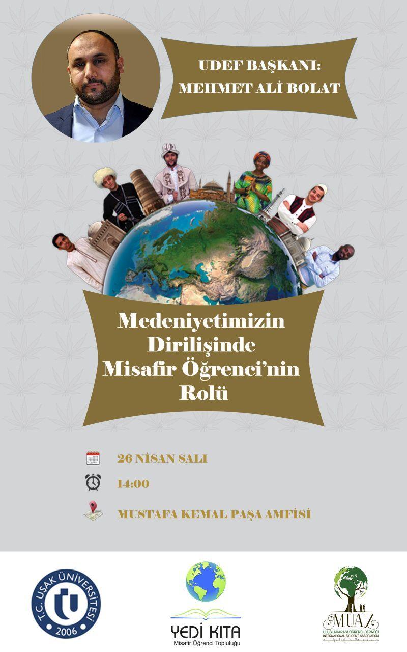 RT @MUAZDER: Sivil Toplumun Güçlü Sesli UDEF Başkanı Sayın Mehmet Ali BOLAT Beyi salı günü Uşak Üniversitesinde ağırlıyoruz. https://t.co/fQJvQakLrN