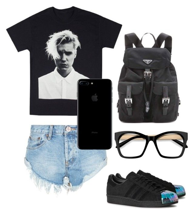 """VCC Black"" by klhaudita-leto on Polyvore featuring One Teaspoon, adidas Originals and Prada"
