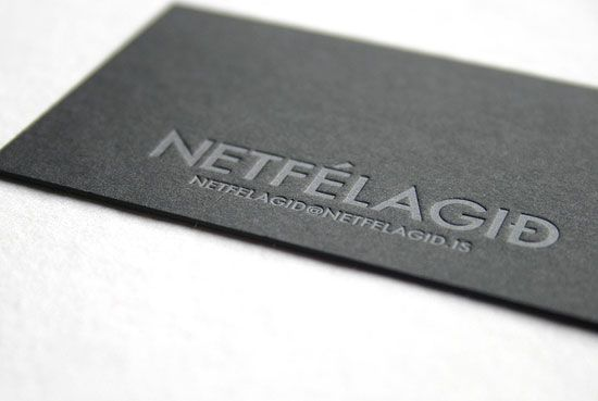 Silver On Black Letterpress Business Card To Achieve This Look A Silver Ink Was Use Business Card Design Black Letterpress Business Cards Business Card Design