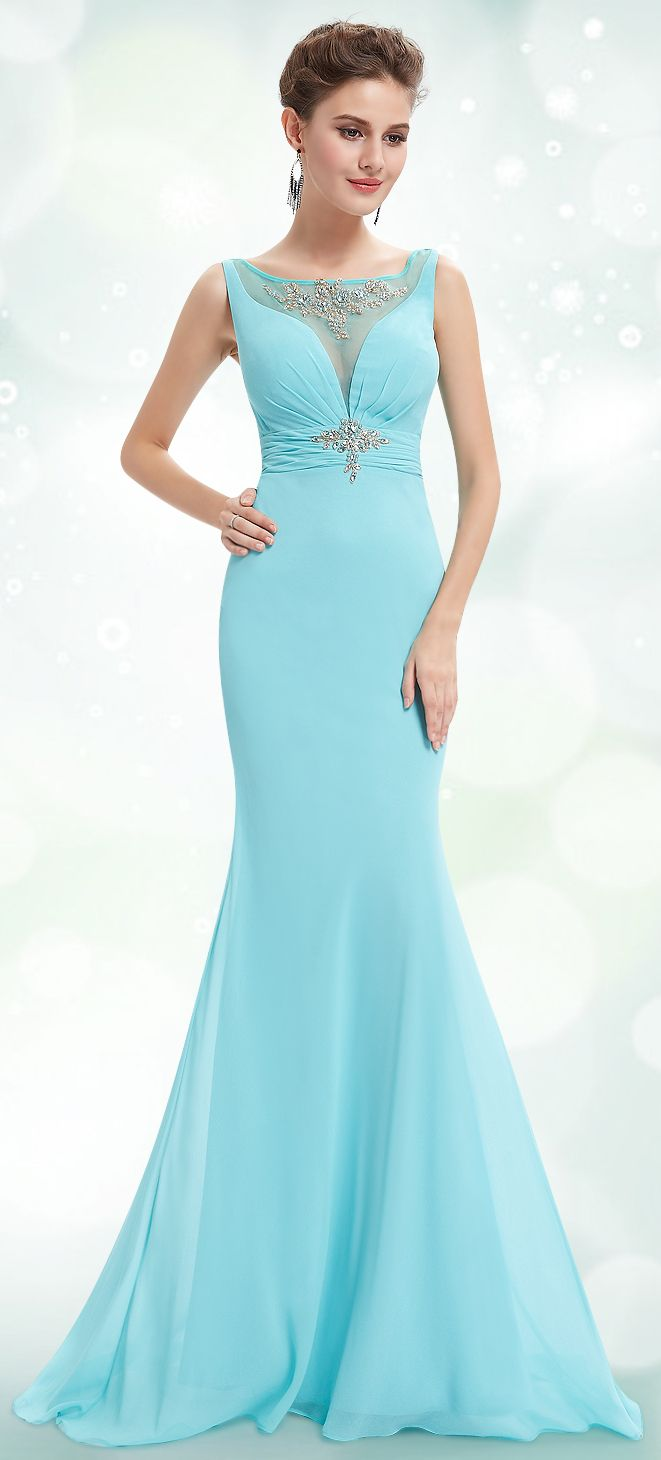 light blue prom dress so elegant mermaid dress Womenus Fashion