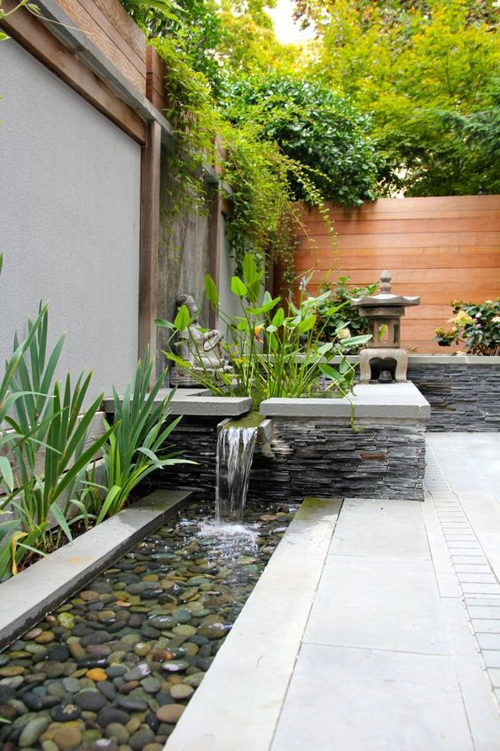 Peaceful Zen Garden Designs Water Features Bordering A Small Yard