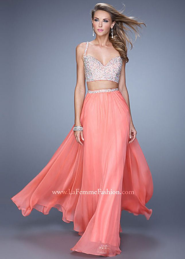 Long Hot Coral V Neck Beaded Top 2 Piece Long Prom Dress Sale ...