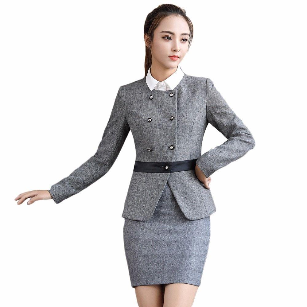 6169a1da588c8 Office uniform female S-4XL formal skirt suits two pieces set for ...