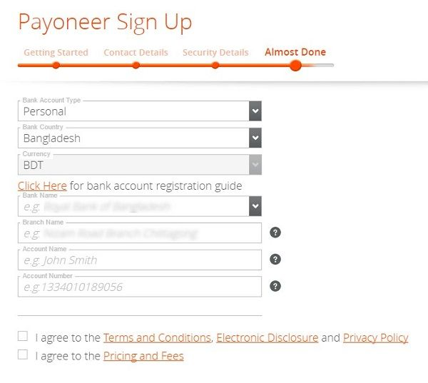 Payoneer MasterCard - Form Fill Up Bank Account Details WPPundit - bank account forms