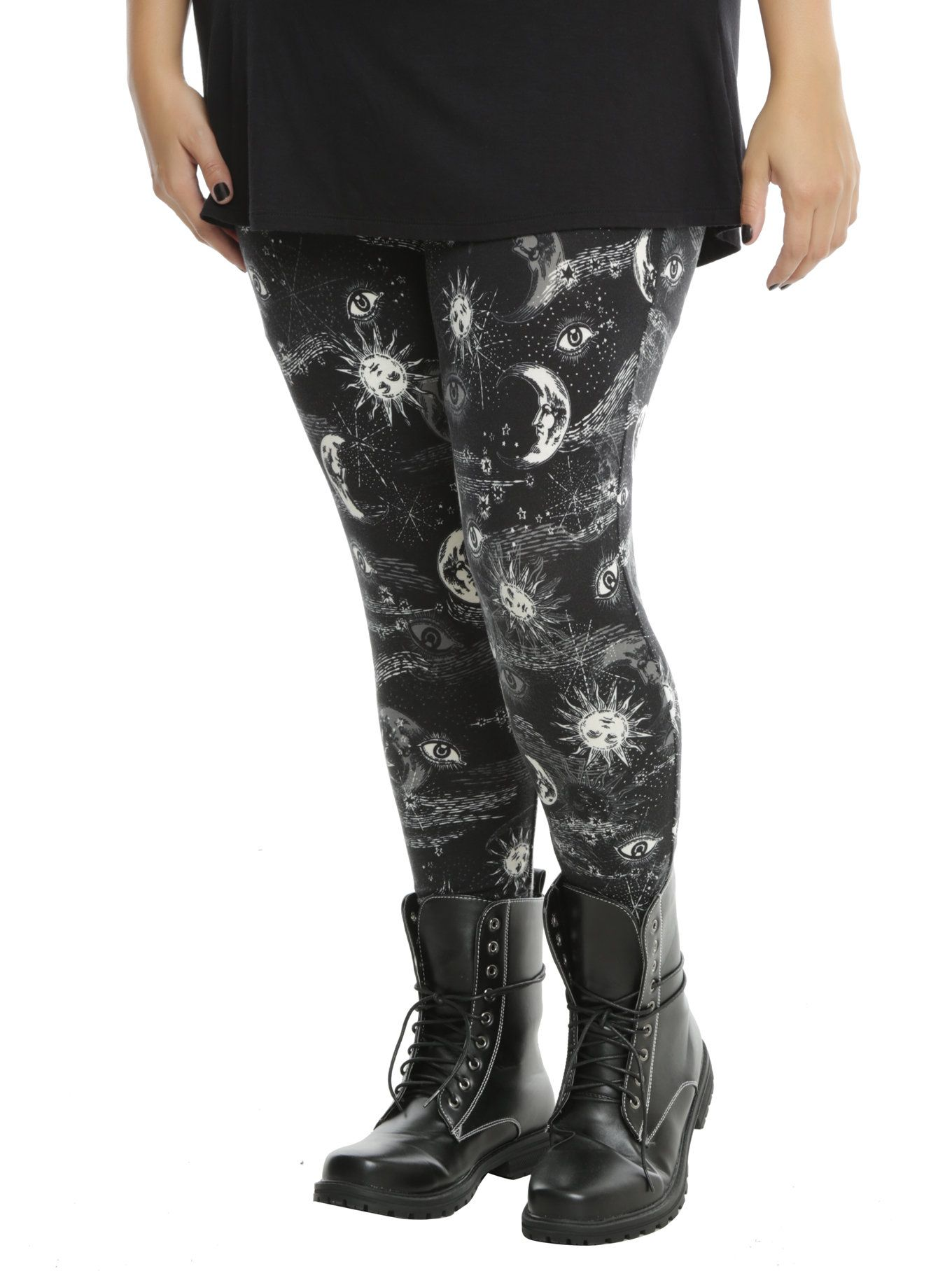 25db4833bf600 Blackheart Black & White Mystical Celestial Print Leggings Plus Size, BLACK