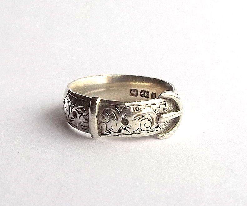 Men's Sterling Silver Victorian Belt Buckle Ring   Antique ...