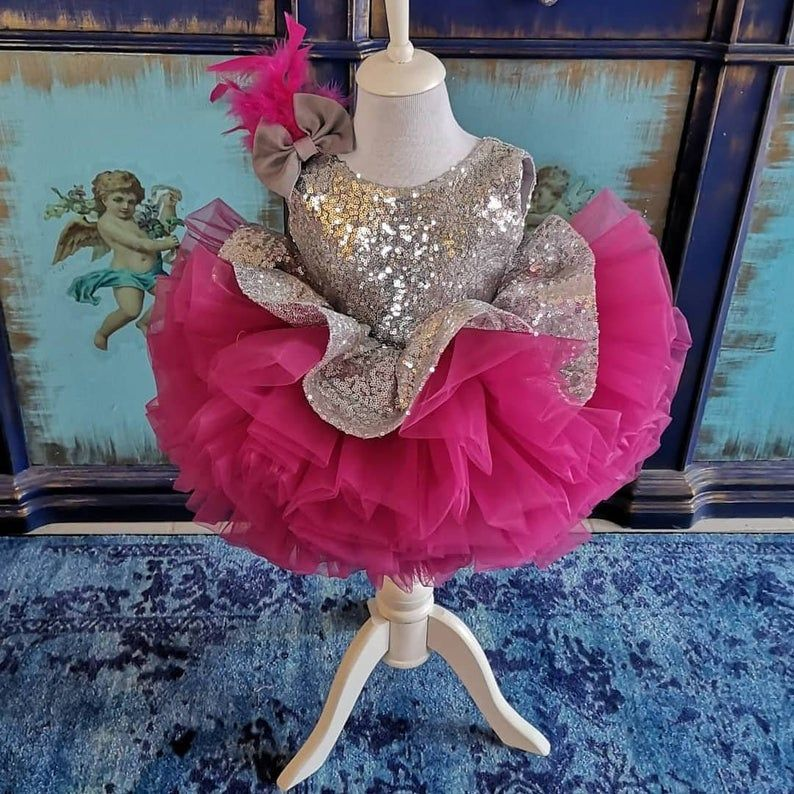 Flower Birthday Outfit Beautiful Babygirl Costume Luxury Girls Dress Baby Party Dress Pink Sequin Costume Fancy Princess Vesture